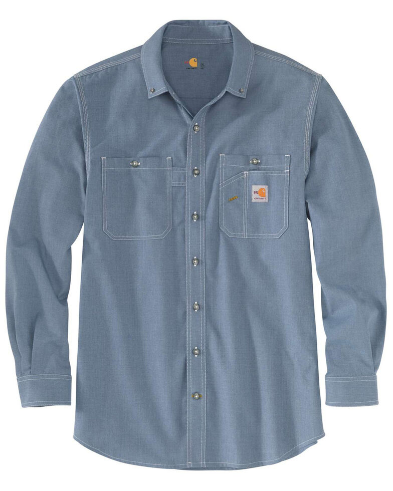 Carhartt Men's FR Force LW Performance Woven Long Sleeve Work Shirt , Steel Blue, hi-res