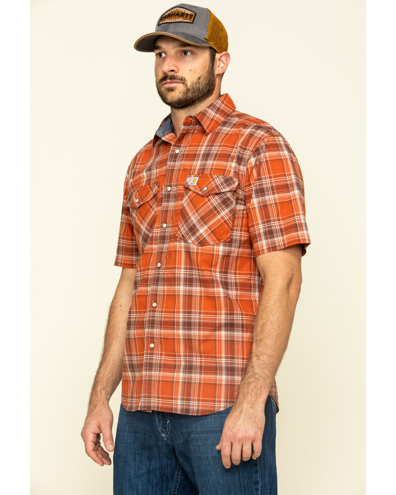Carhartt Men's Harvest Orange Rugged Flex Bozeman Plaid Short Sleeve Work Shirt - Big , Orange, hi-res
