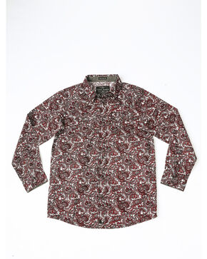 Cody James Boys' Lava Field Paisley Print Long Sleeve Western Shirt , Burgundy, hi-res