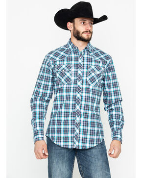 Wrangler 20X Men's Black Plaid Competition Advanced Comfort Long Sleeve Western Shirt, Black, hi-res