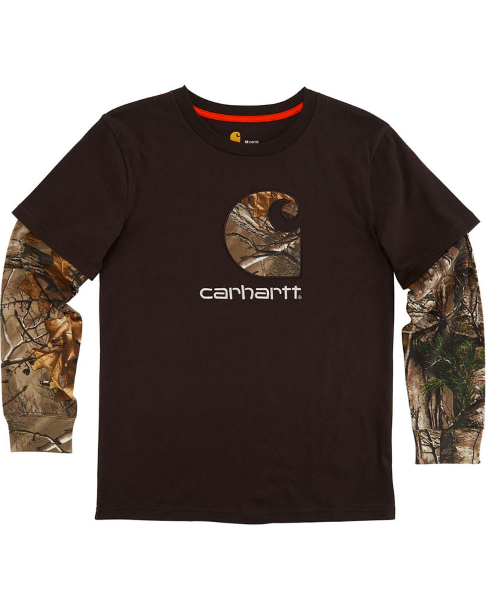 Carhartt Boys' Camo Printed Long Sleeve Layered Tee, Brown, hi-res