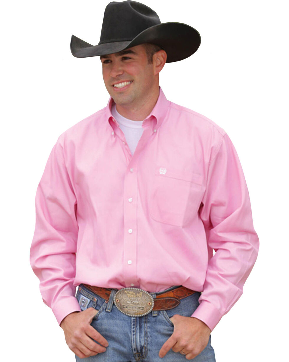 Cinch Men's Solid Pink Button-Down Western Shirt, Pink, hi-res