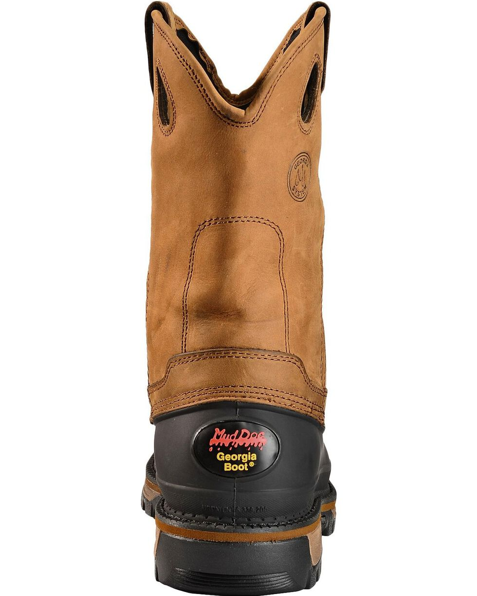 Georgia Men's Muddog Steel Toe Wellington Boots, Brown, hi-res