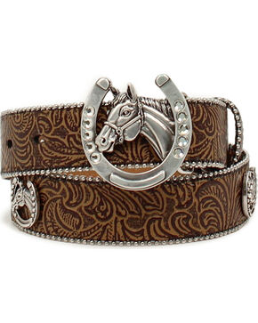 Ariat Girls' Floral Embossed Horsehead Belt, Tan, hi-res