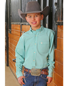 Cinch Boys' Teal Striped Long Sleeve Button Down Shirt, Teal, hi-res