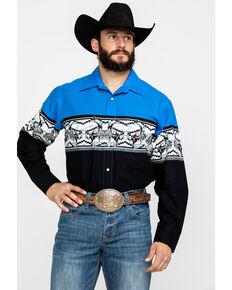 Panhandle Men's Cowboy Rodeo Border Print Long Sleeve Western Shirt , Royal Blue, hi-res