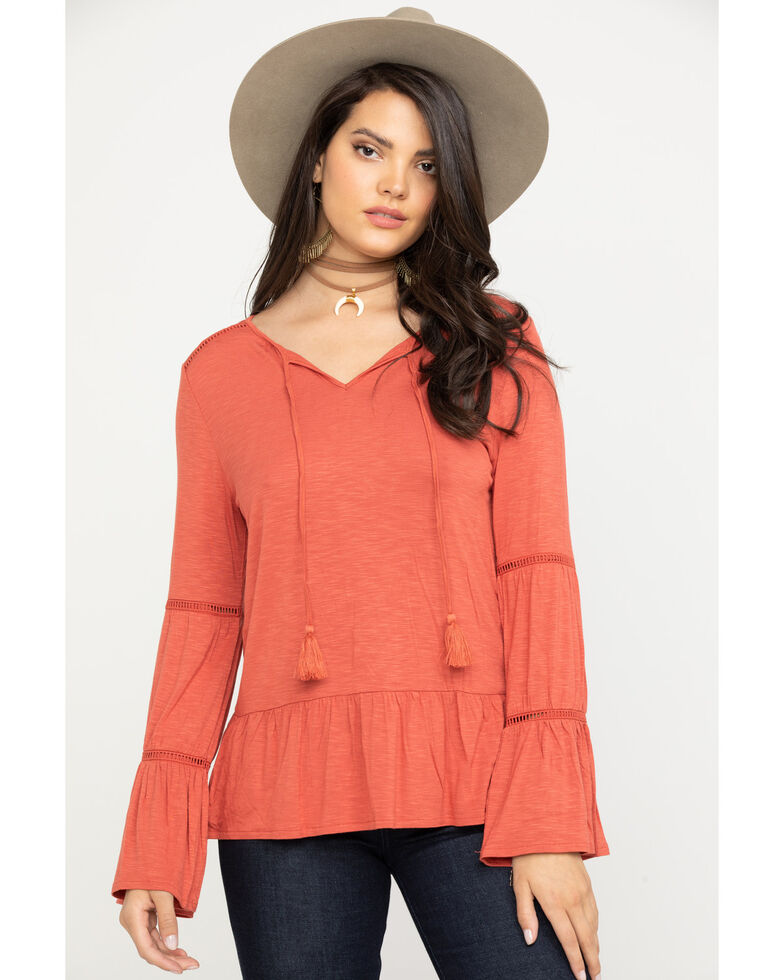 Wrangler Women's Coral Knit Tiered Peasant Top, Coral, hi-res
