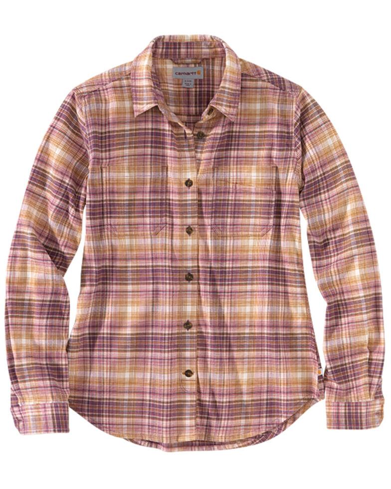 Carhartt Women's Rugged Flex Plaid Long Sleeve Button-Down Work Shirt , Pink, hi-res