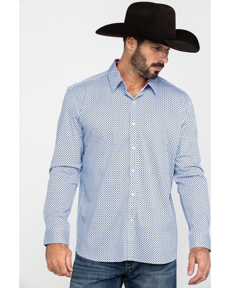 Scully Signature Soft Series Men's X Geo Print Long Sleeve Western Shirt , Blue, hi-res