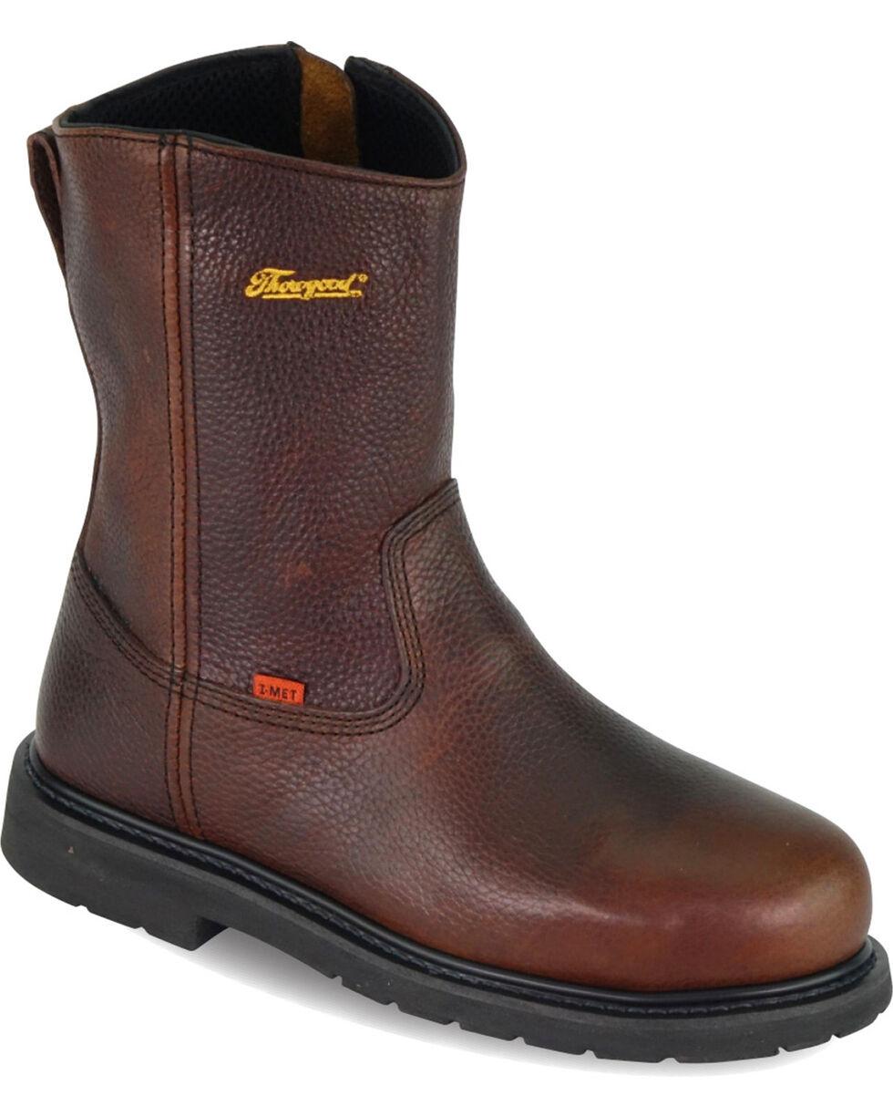 "Thorogood Men's 8"" Internal Metguard Side-Zip Wellington Work Boots - Steel Toe, Brown, hi-res"