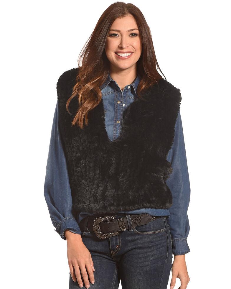 Tractr Women's Faux Fur Vest , Black, hi-res
