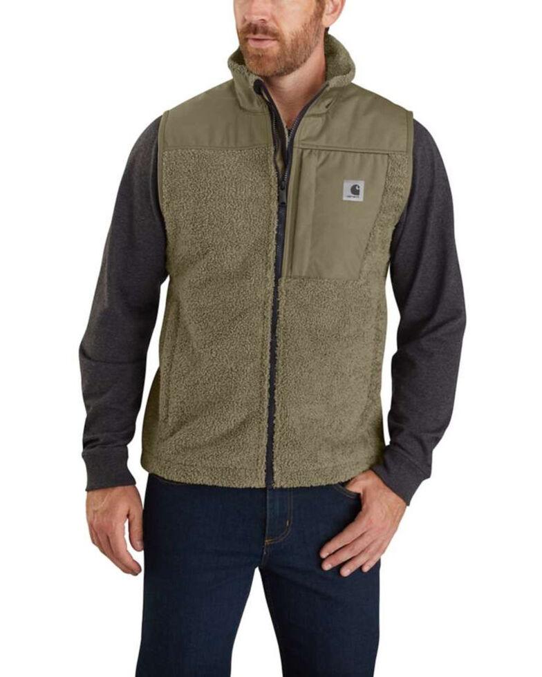 Carhartt Men's Burnt Olive Yukon Extremes Wind Fighter Fleece Work Vest , Olive, hi-res