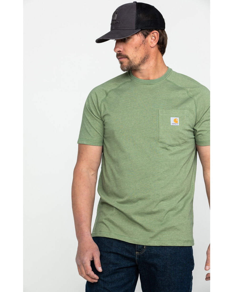 Carhartt Men's Force Cotton Delmont Graphic Work T-Shirt , Heather Green, hi-res