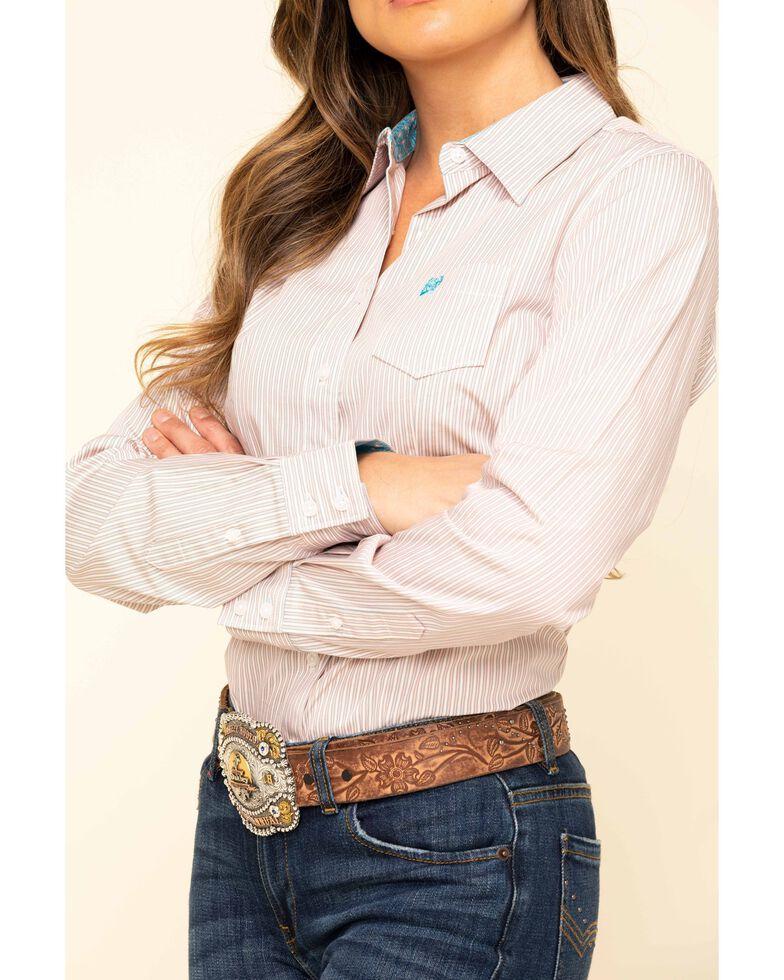 Cinch Women's Pink Stripe Long Sleeve Western Shirt, Pink, hi-res