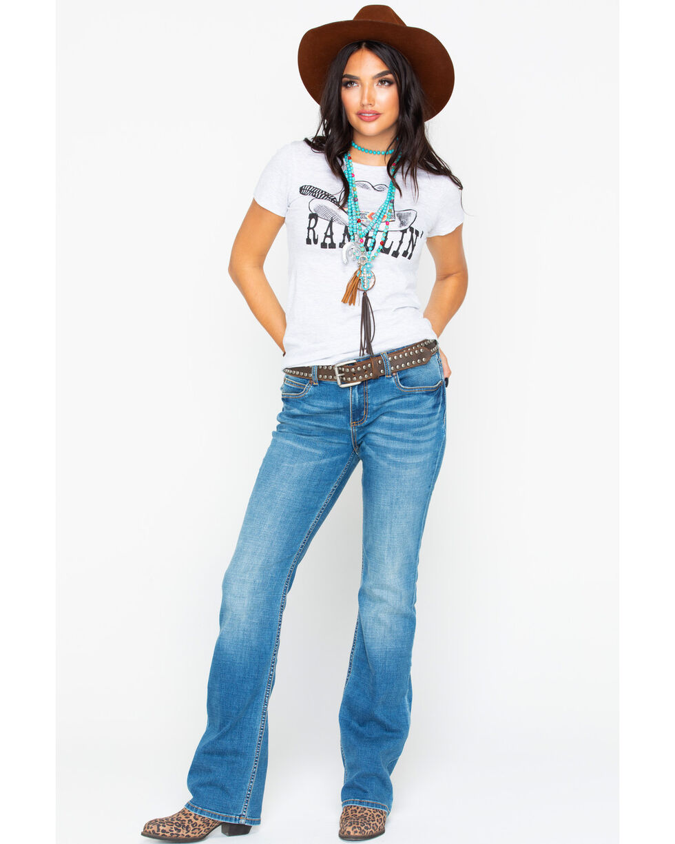 Rock & Roll Cowgirl Ramblin Hat & Feather Graphic T-Shirt , Grey, hi-res