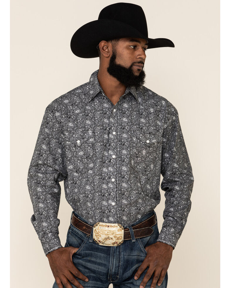 Rough Stock By Panhandle Men's Atalaya Stretch Paisley Print Long Sleeve Western Shirt, Black, hi-res