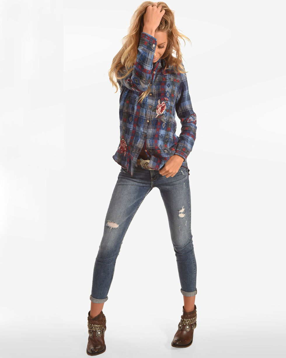 Johnny Was Women's Rae Plaid Shirt , Navy, hi-res