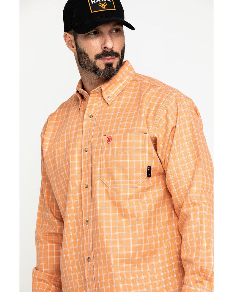 Ariat Men's FR Orange Excavator Plaid Long Sleeve Work Shirt , Orange, hi-res