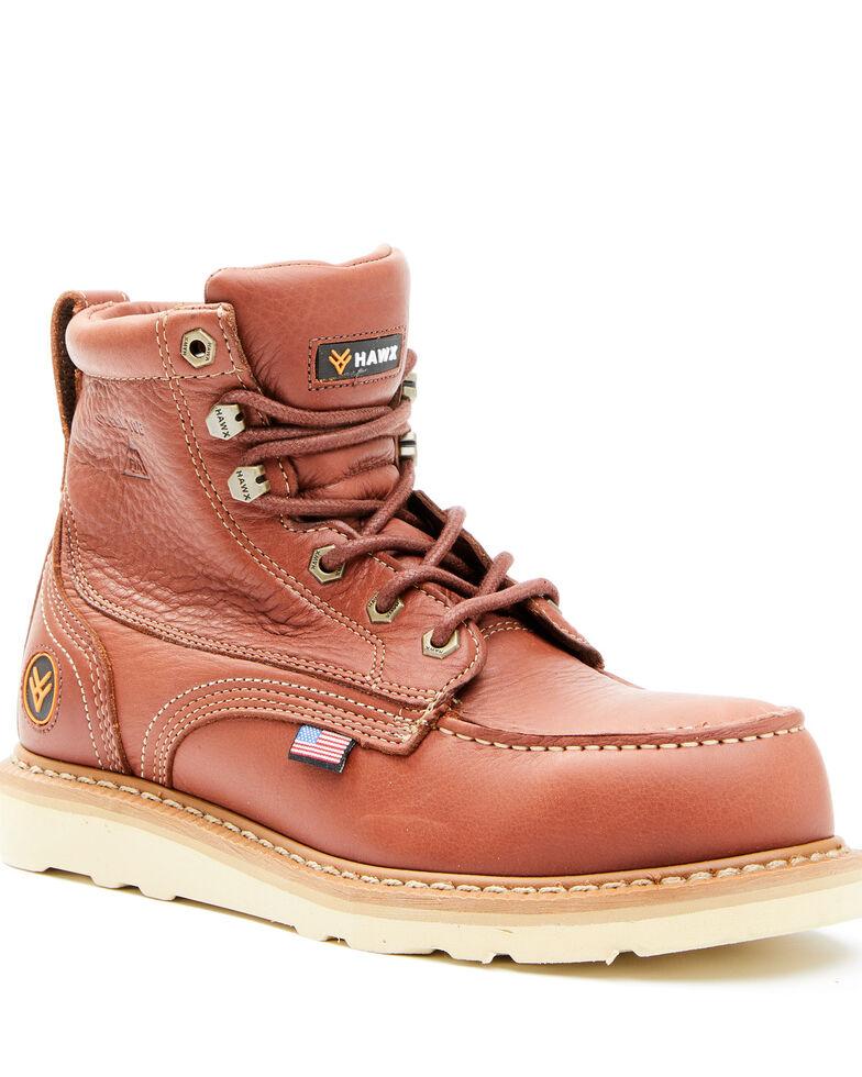 Hawx Men's Dark Brown USA Moc Wedge Work Boots - Steel Toe, Dark Brown, hi-res