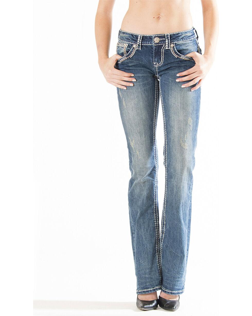 Grace in LA Women's Swish Embroidered Pocket Jeans - Boot Cut, Indigo, hi-res