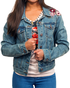 Shyanne Women's Floral Embroidered Denim Jacket, Blue, hi-res