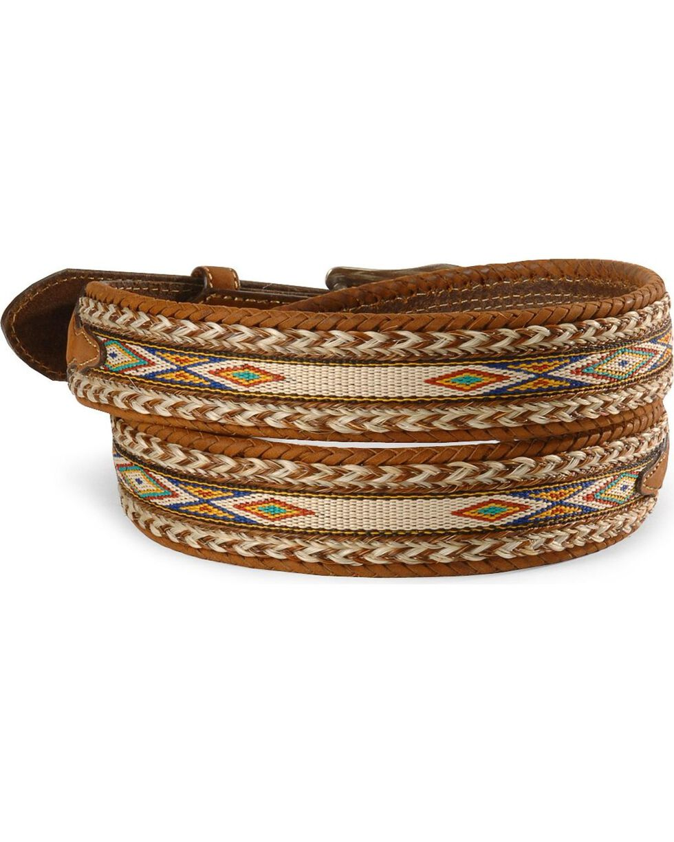 Tony Lama Horsehair Ribbon Leather Belt, Bark, hi-res
