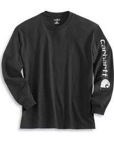 Carhartt Signature Logo Sleeve Knit T-Shirt, Black, hi-res