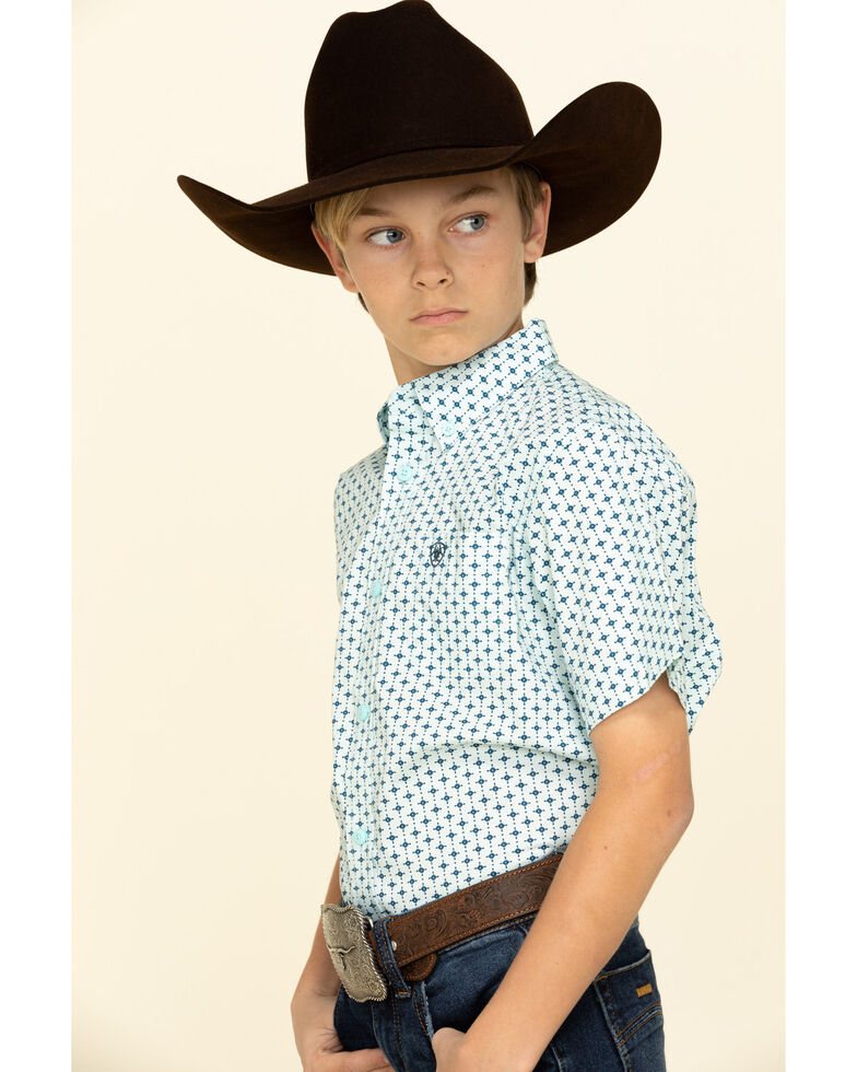 Ariat Boys' Reedley Stretch Dot Geo Print Short Sleeve Western Shirt , Turquoise, hi-res