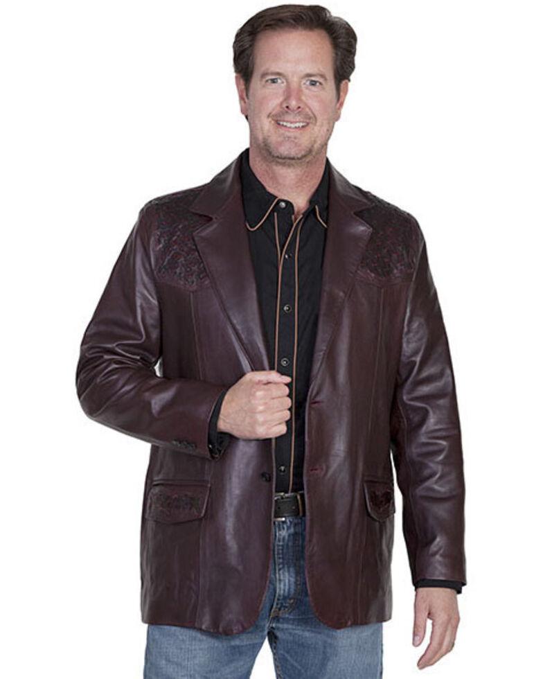 Scully Men's Ostrich Trim Leather Blazer, Black Cherry, hi-res