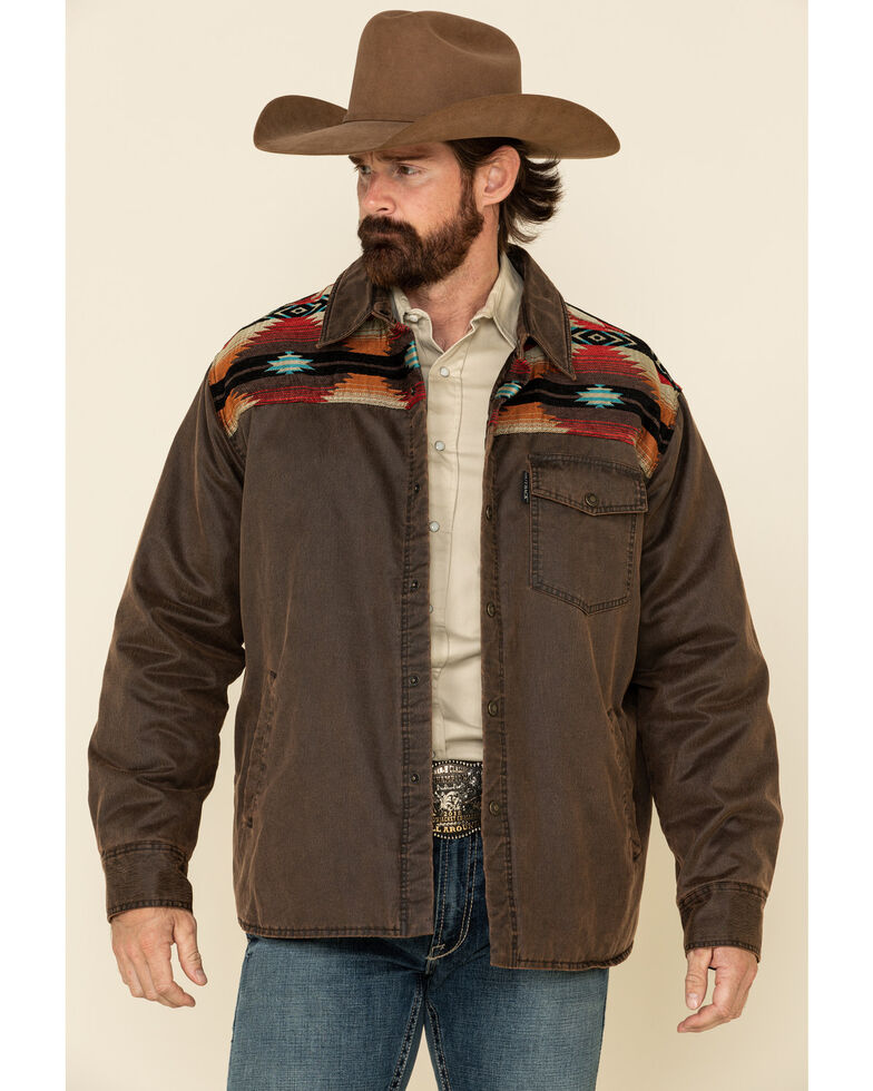 Outback Trading Co. Men's Brown Aztec Ramsey Jacket , Brown, hi-res