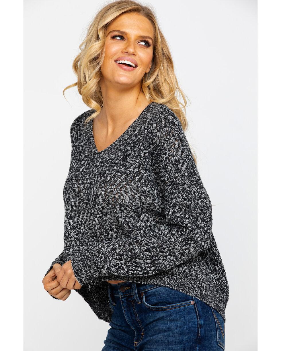 Eyeshadow Women's Marbled Hi Low Pullover Sweater , Black, hi-res