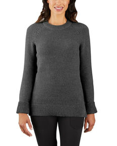 Carhartt Women's Fudge Heather Crewneck Sweater, Charcoal, hi-res