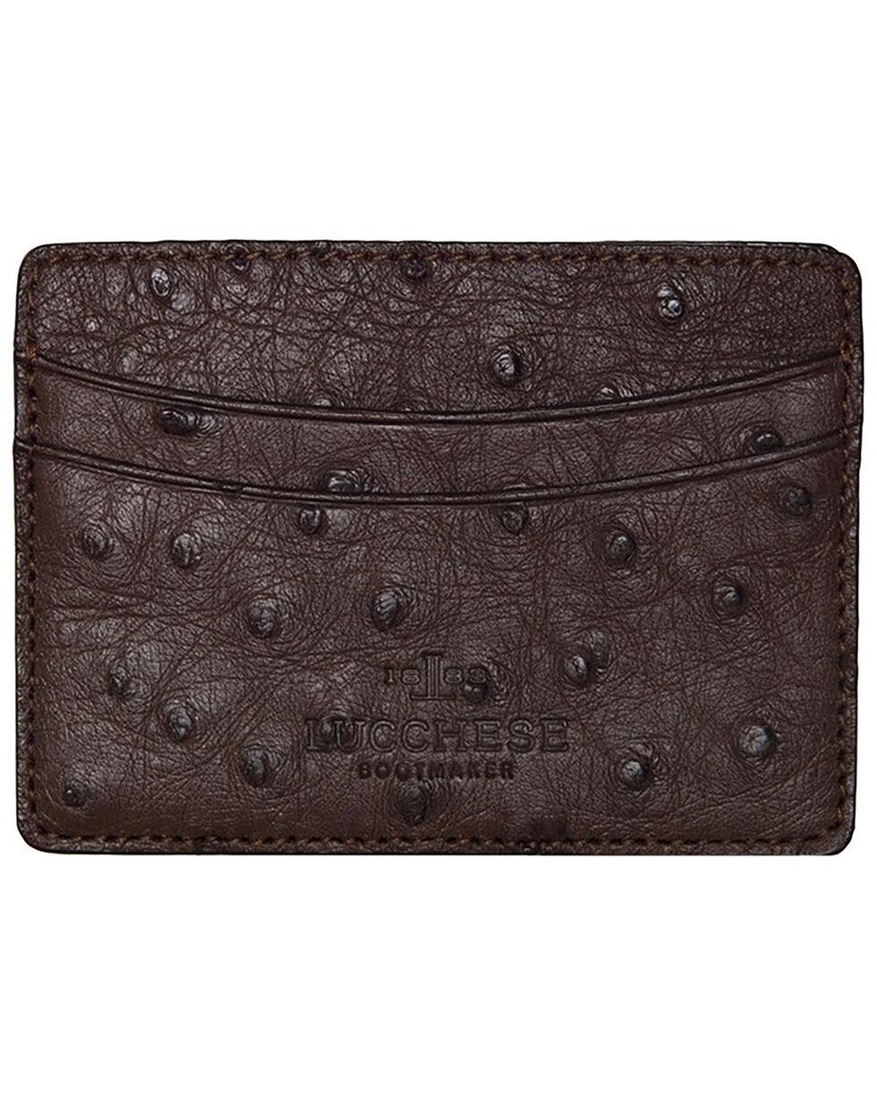 Lucchese Men's Sienna Ostrich Credit Card Case, Brown, hi-res