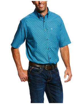 Ariat Men's Mobus Geo Print Short Sleeve Western Shirt , Blue, hi-res