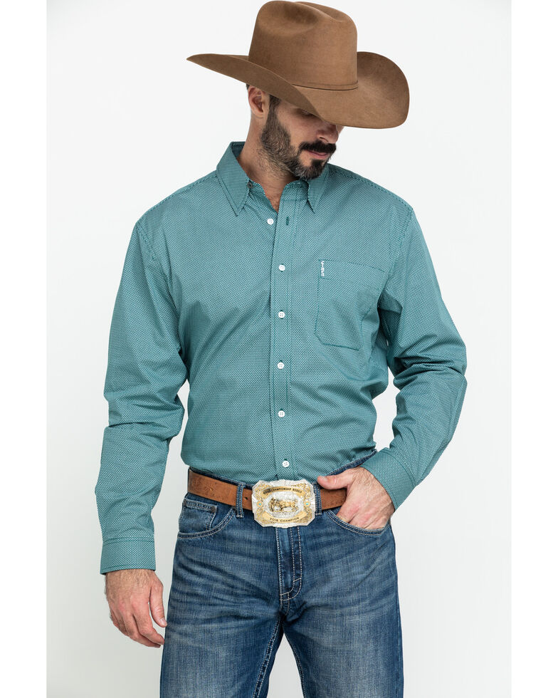 Cinch Men's Modern Fit Green Geo Print Long Sleeve Western Shirt , Green, hi-res