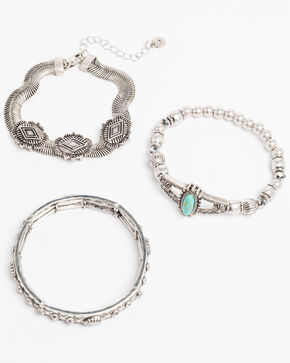 Shyanne Women's Bella Concho Turquoise Stretch 3 Pack Bracelet Set, Silver, hi-res
