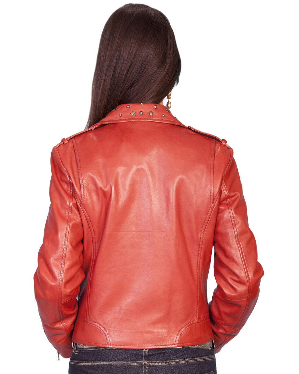 Scully Studded Collar Leather Jacket, Red, hi-res