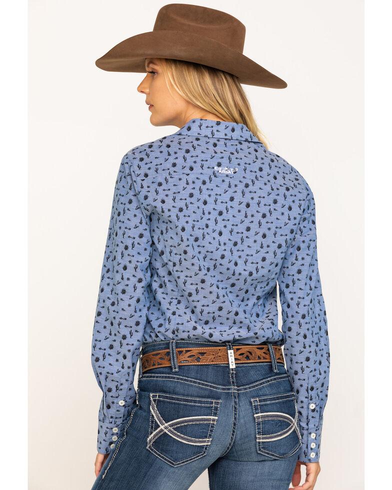 Ariat Women's Desert Spring Kirby Stretch Long Sleeve Western Shirt , Blue, hi-res