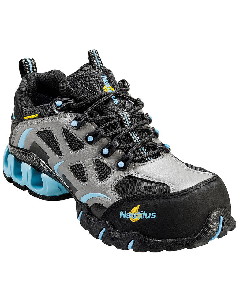 Nautilus Women's Grey and Blue Nylon Microfiber Athletic Work Shoes - Composite Toe, Grey, hi-res