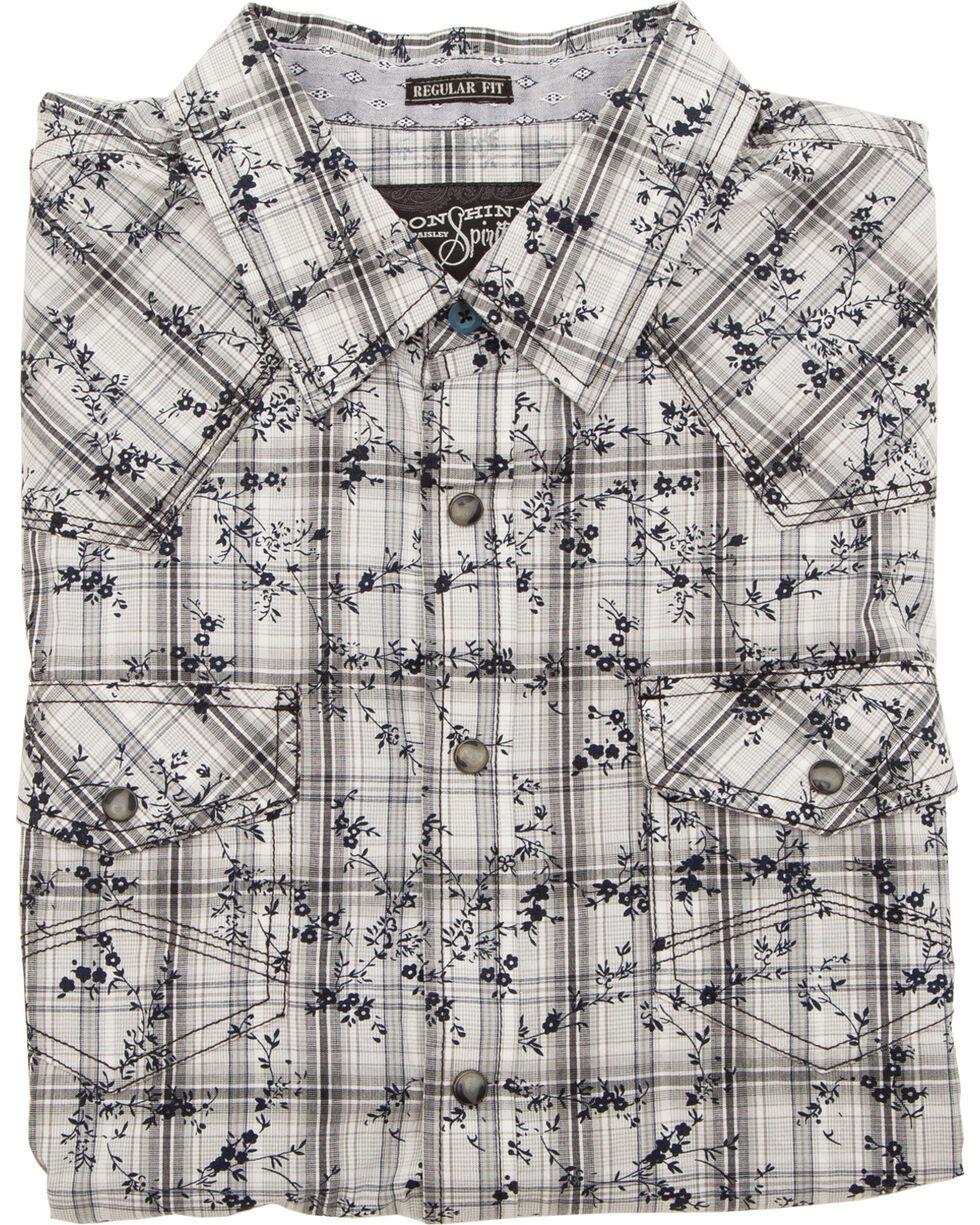Moonshine Spirit Men's Floral Plaid Short Sleeve Shirt, White, hi-res