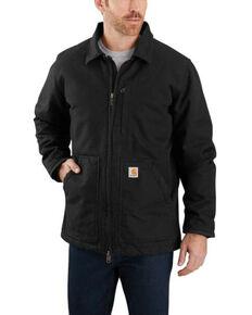 Carhartt Men's Black Washed Duck Sherpa Lined Work Coat - Big , Black, hi-res