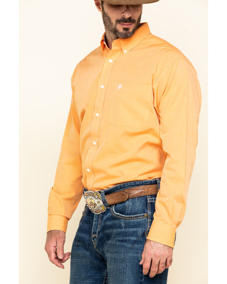 Ariat Men's Wrinkle Free Orange Oxford Solid Long Sleeve Western Shirt , Orange, hi-res