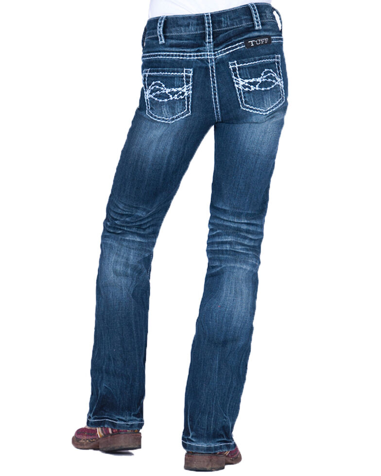 Cowgirl Tuff Girls' Edgy Bootcut Jeans, Blue, hi-res