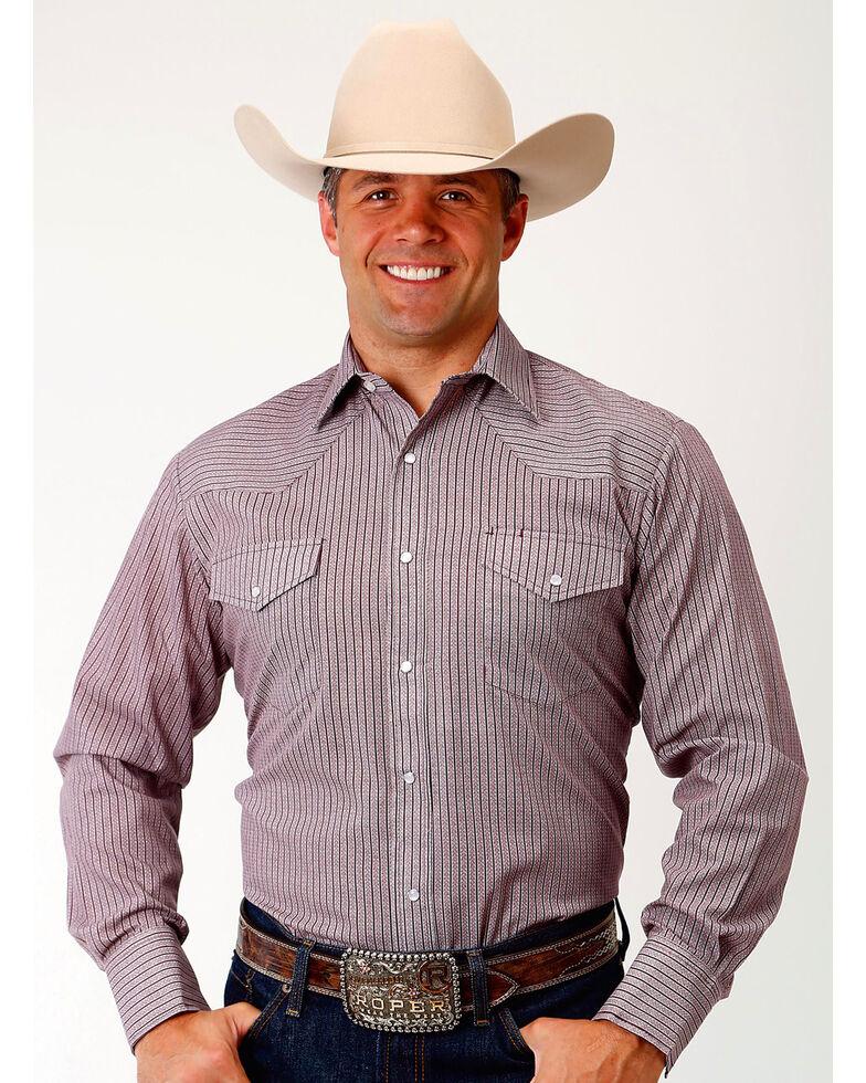 Roper Men's Wine Striped Long Sleeve Western Shirt, Wine, hi-res