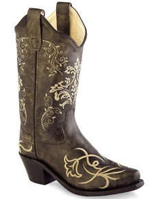 Old West Girls' Tooled Embroidery Western Boots - Snip Toe, Charcoal, hi-res