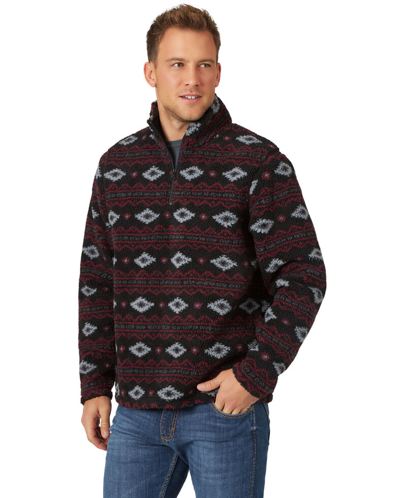 Wrangler Men's Red Aztec Print 1/4 Zip Sherpa Lined Pullover , Red, hi-res