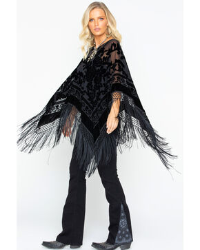 Idyllwind Women's Gypsy Night Fringe Poncho, Black, hi-res