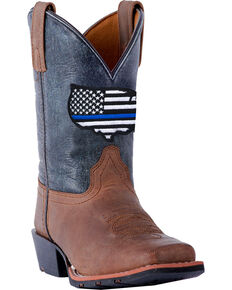 Dan Post Youth Boys' Sand Thin Blue Line Leather Boots - Square Toe , Sand, hi-res