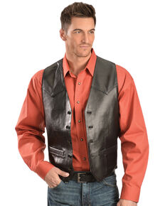 Scully Men's Basic Lambskin Vest, Black, hi-res