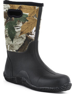 Roper Men's Camo Neoprene Barnyard Work Boots, Black, hi-res